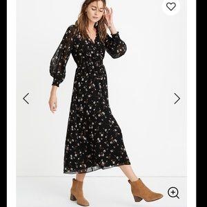 New Madewell Georgette smock midi dress